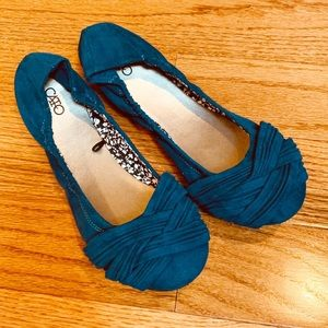 Braided Toe Teal Blue Flats by Cato